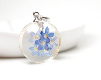Forget-me-not real flower pendant - clear resin, white gold plated silver necklace