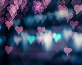 bokeh photography hearts abstract photography romantic 8x10 8x12 fine art photography fairy light pink teal valentines bedroom decor nursery