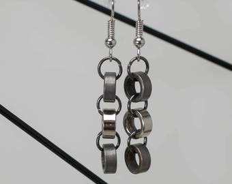 Bicycle Chain 3 Roller Earrings