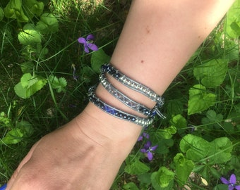 Beaded wraparound bracelet that doubles as a necklace