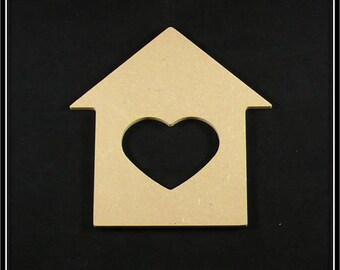 "medium ""House with heart"" shaped blank"