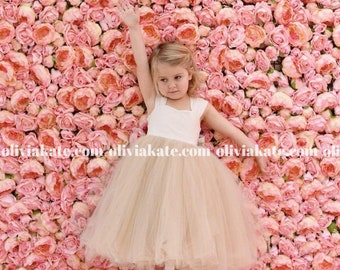 Champagne Flower Girl Dress, Flower Girl Dress Champagne, Champagne Dress, Flower Girl Dress Champagne Tulle, Flower Girl Champagne Dress