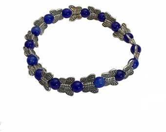 Lapis bead and pewter butterfly bracelet