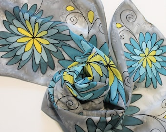 Hand Painted Silk Scarf - Handpainted Scarves Gray Grey Silver Aqua Jade Turquoise Blue Yellow Floral Flowers Spring Summer