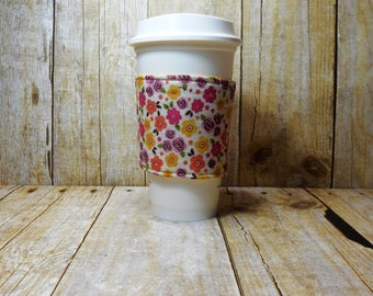 Fabric Coffee Cozy / Country Floral Coffee Cozy / Flower Coffee Cozy / Coffee Cozy / Tea Cozy