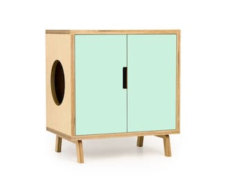 "Mid Century Modern Cat Litter Box Furniture | SMALL Cat Litter Box Cover | Pet House | MCM Maple Side Table | ""The MINI Cabinet"""