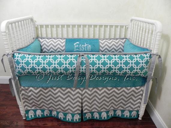 Custom Crib Bedding Set Eastin Boy Baby Bedding Elephant