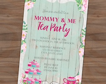 Mother's Day Invitation - Mommy and Me Tea Party - Rustic Roses - Brunch - Tea & Cupcakes - Printable or Printed - SHIPPING INCLUDED - 4x6