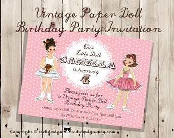 Vintage Paper Doll Birthday party invitation Design - digital file