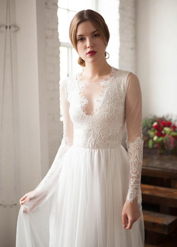 Long Sleeve Wedding Dress French Lace Wedding Dress Silk