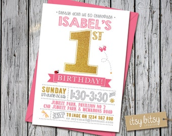 1st Birthday Invitation Pink and Gold Glitter, Printable First Birthday, 1st, 2nd, 3rd, 4th or 5th Birthday Party, Garden Party, Butterfly
