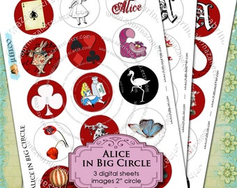 Digital collage sheet ALICE in BIG CIRCLE 2 inch size for pendant magnet and craft instant download printable download - tn101