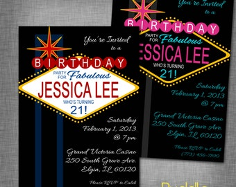 21st Birthday Vegas Party Invitation