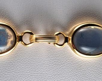 Vintage Gold PLated Milky White Glass Connector Ladies Bracelet Jewelry Repurpose DIY