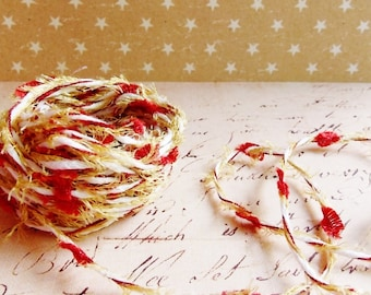 Cherry red Gold White Confetti Twist novelty ribbon- fiber art european specialty trim scrapbook embellishment gift wrap supply
