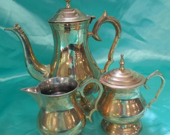 Vintage Tea set of Brass used good condition Made in India