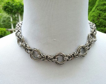 24/7 Wear Discreet Symbolic Day Collar, BDSM Submissive Slave Collar, DDLG, Stainless Steel Chainmaille Collar