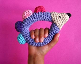 Crochet Baby Hedgehog Rattle , Crochet Infant Clutch Toy, Baby Rattle,