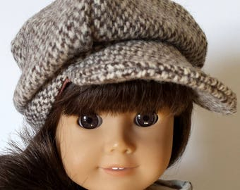 "This Adorable Wool Tweed Newsboy Cap Fits 18"" Doll Clothes fits American Girl also fits 15"" Bitty Twins Bitty Baby"