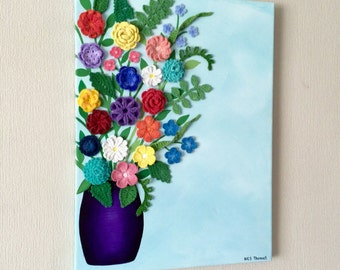 Crocheted flowers and acrylic painting canvas wall art