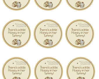 """Instant Download 2"""" Classic Pooh Bear inspired cupcake topper"""