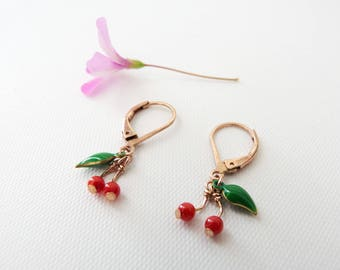 Boucles Cerises Micro Courtes Or Rose