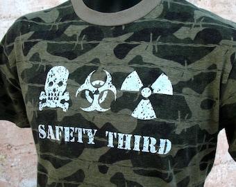 Infected Triple Threat SAFETY THIRD tshirt men MED Camo Skull Biohazard Radioactive masculine mens safety 3rd tshirt etsybrc Mad Max
