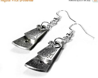 Steampunk Jewelry Earrings Vintage Watch Parts SILVER Ornate Etching Wedding Bridal, Anniversary, Girlfriend Jewelry - Jewelry by edmdesigns
