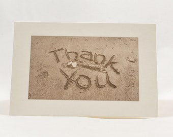 8 Beach Thank You Cards. Set of cards. Wedding Thank You. Sand Thank you card. Blank inside.
