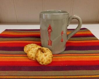 Extra Large Gray Ceramic Coffee Mug with Red Arrows, Handmade Pottery