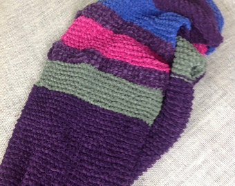 Cosy purple with stripes infinity scarf