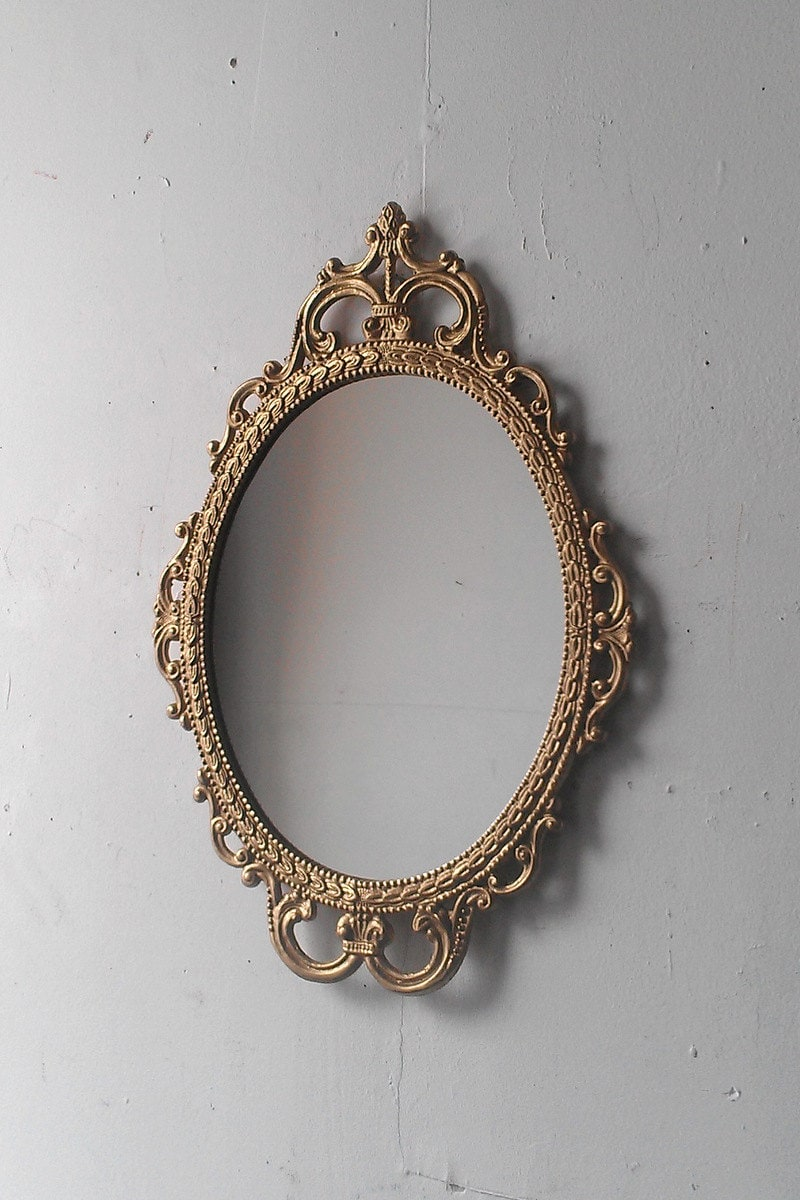 Gold Mirror In Vintage Oval Frame Small Bathroom Wall Mirror