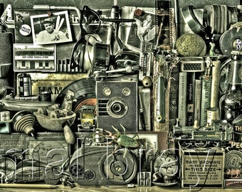Old Boys Toys, collage, old, vintage, print, poster
