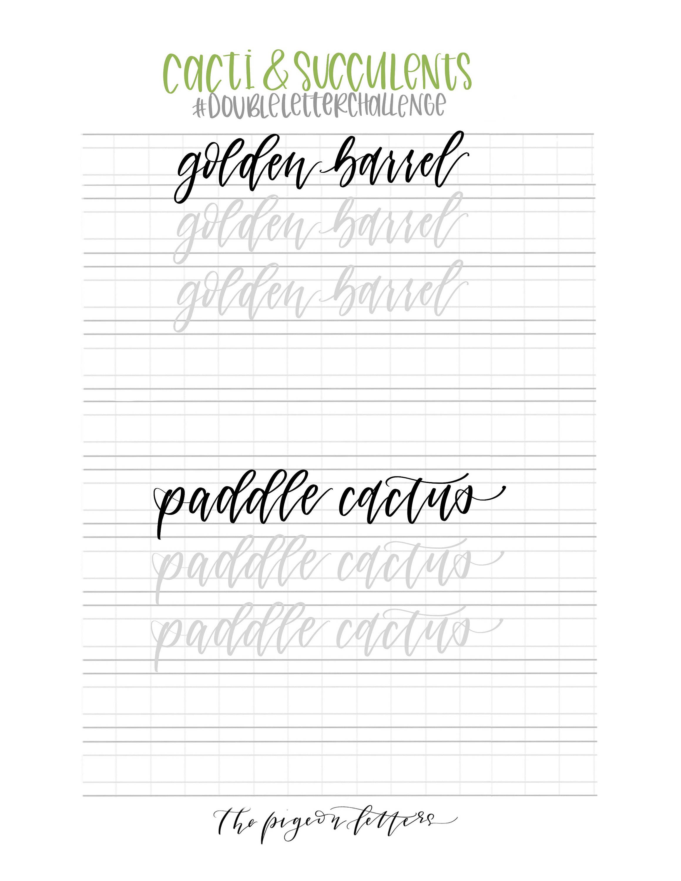Hand lettering practice sheets double letter words cacti zoom fandeluxe Image collections