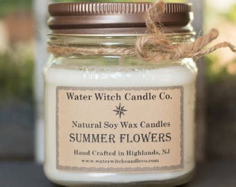 Scented Soy Candle, Summer Flowers Scented Soy Wax Candle in 8 oz. Mason Jar