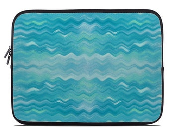 Turquoise tablet sleeve, laptop sleeve, wavy print laptop cover, tablet case, aqua laptop case, to fit 10, 13, 15, 17 inch