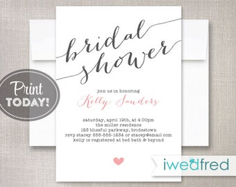 Bridal Shower Invitation, Bridal Shower Invitation, Printable Bridal Shower Invitation, DIY Invitation, Invitation Template #BR025