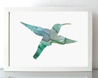 Hummingbird Art - Hummingbird Watercolor - hummingbird illustration - Animal Painting - Giclee Print - Home Decor - Blue green Nursery Art