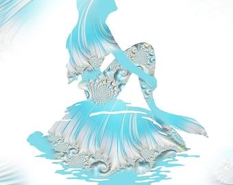 Mermaid art, Mermaid art print, Ariel print, aqua blue Mermaid, Disney Ariel, Little Mermaid, Nursery Decor, Little Mermaid, Mermaid Print
