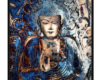 Framed Buddha Art - Inner Guidance - 30x30 Blue Buddha Art Canvas Framed With Black Float Frame