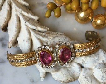 1800s antique French paste and brass ormolu cuff, 19th century French paste cuff