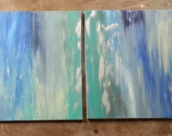 "Blue Diptych (2) 24"" x 36"" Acrylic"