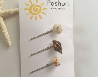 Seashell Hair Accessories ... Shell Hairpin Set of Three (1672)