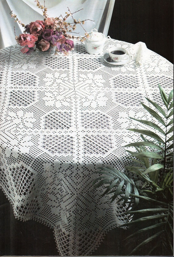 Crochet pattern crochet tablecloth filet crochet tablecloth crochet pattern crochet tablecloth filet crochet tablecloth with chart amaryllis 47 inches square crochet cotton thread pdf instant download dt1010fo