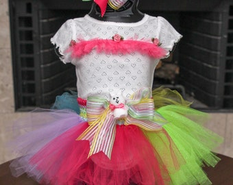 Easter Tutu Set | Multi-color Easter Outfit | Easter Bunny | T-Shirt with Matching Multi Color Hair Bow