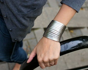 Silver Steel Leather  Wrist Wrap Bracelet
