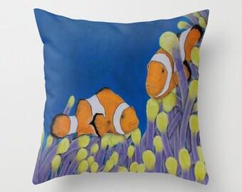 Indoor / Outdoor Decorative Throw Pillow Nautical Clown fish 16X16 IN.