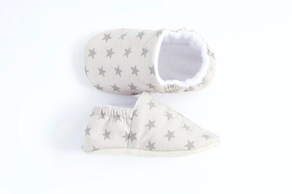 Baby boy shoes/moccs crib shoe pram shoe light grey background with dark grey stars