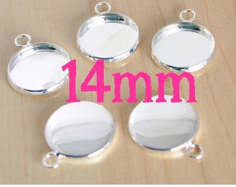 SILVER 14mm Bezel Trays - Great for Earrings, Charm Drops for bracelet, pendants. - Pick your quantity from the drop down.