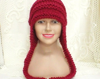 Cranberry red ear flap hat, trapper cap, red hat, beanie hat, toque, winter hat, womens mens knit hat, chunky knit hat, womens knitted hat